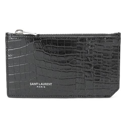 サンローランパリ カードケース YSL/SLP SAINT LAURENT PARIS コインケース COCCO PRINT レザー ブラック 黒 458583 DND0N 1000【I LOVE BRAND/】