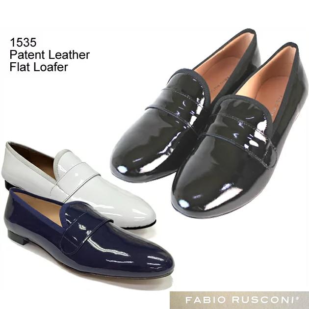 Fabio Rusconi ファビオ ルスコーニ 正規品 エナメル ローファー 本革 レザー オペラシューズ Patent Leather Flat Loafer 1535 ツヤやかな高級 レザー エナメル 靴 正規品取扱店舗