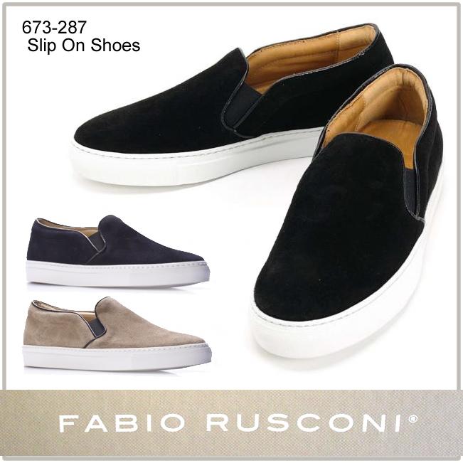 Fabio Rusconi ファビオ ルスコーニ 正規品 スエード スリッポン スニーカー レザー シューズ Slip On shoes 673-287  正規品取扱店舗  so1