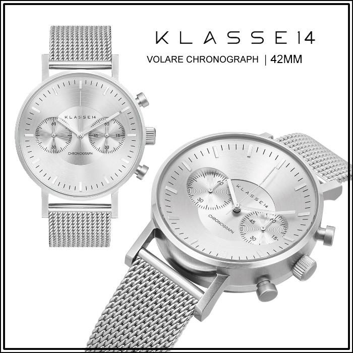 クラス14 KLASSE14 保証あり 腕時計 42mm MARIO NOBILE VOLARE Chronograph 時計 レディース メンズ ユニセックス シルバー メッシュ VO15CH002Mペア購入割引クーポン発行中  正規品取扱店舗