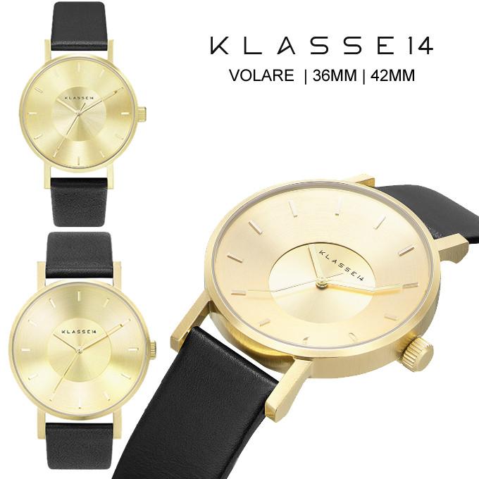 クラス14 KLASSE14 保証あり 腕時計 36mm 42mm MARIO NOBILE VOLARE 時計 レディース メンズ ユニセックス ブラック 黒 ゴールド レザー 革ベルト VO14GD001W VO14GD001Mペア購入割引クーポン発行中  正規品取扱店舗