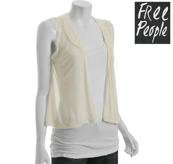 即日発送 OUTLET フリー・ピープル Free People ivory ribbed lace detail swing cardigan ベストアイボリー  正規品取扱店舗