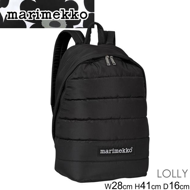 スーパーセール特別価格 マリメッコ バックパック Marimekko Lolly ローリー リュック 045486 バッグ BLACK ブラック 黒 シンプル 正規品取扱店舗
