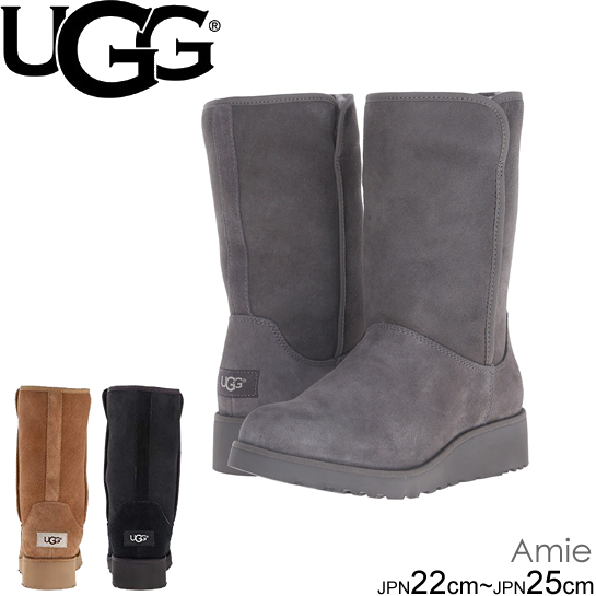 UGG アグ ムートンブーツ アミ Women's AMIE 1013428 GREY CHE BLK シープスキン 正規品取扱店舗
