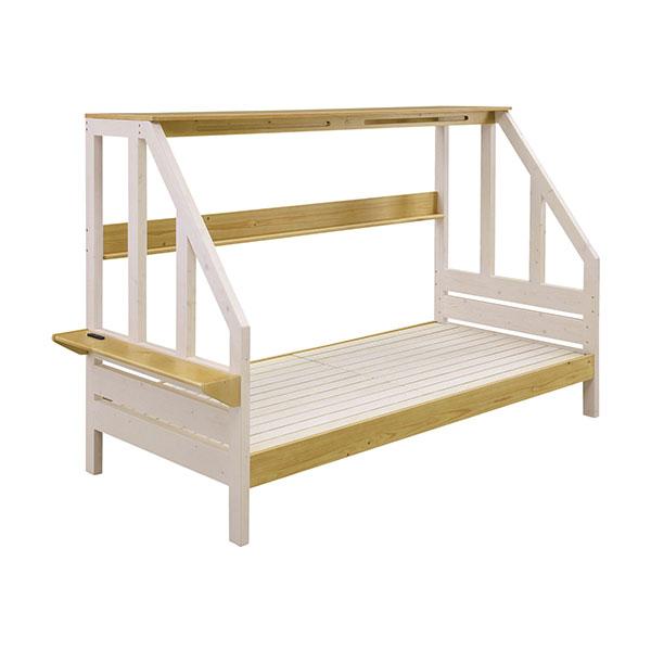 ベッドフレーム 【カンヌ システムベッド】 幅103 3段階高さ調整可能 コンセント付 寝室 【送料無料】