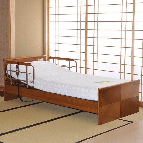 電動ベッド 【 ケアレット P103-11AA1PS 】 背上げ1モーターベッドセット (フラットレギュラー・ポケットコイルマットレス)