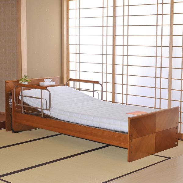 電動ベッド 【 ケアレット P103-11AB1CS 】 背上げ1モーターベッドセット (宮付レギュラー・硬質ウレタンマットレス)