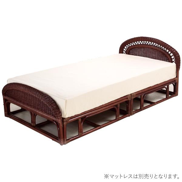 ベッドフレーム 【W-004D シングルベッド(フレーム)】 フレームのみ シングル すのこ 籐 ラタン 軽くて移動がしやすいラタンベッド