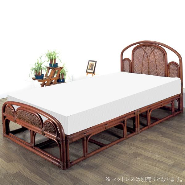 ベッドフレーム 【W-003SD シングルベッド(フレーム)】 フレームのみ シングル 籐 ラタン 軽くて移動がしやすいラタンベッド