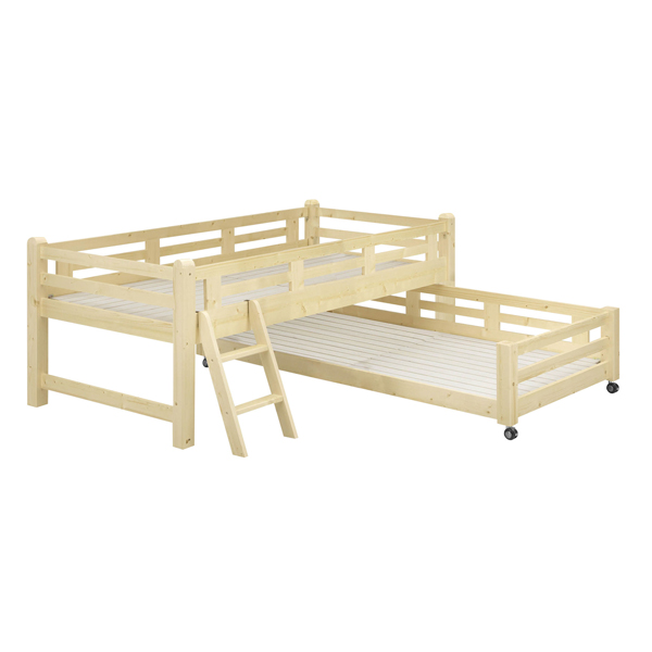 ペアベッド Familia【ファミリア】親子ベッド(ナチュラル)2台セット ロフトベッド 2段ベッド フレームのみ シングルベッド キッズベッド