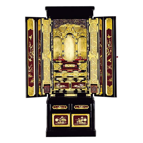 石川型台付 【加賀】 葡萄色蒔絵入 箔仕上 金仏壇