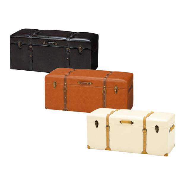 収納スツール 【CHESTER】 102幅 チェア MC-6002IV/MC-6002DBR/MC-6002LBR 3色対応 102cm トランク型 かわいい イス 個性的 隙間収納 小物収納 リビング収納 収納家具 チェスターシリーズ