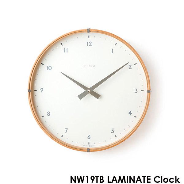 壁掛け時計 【NW19TB ラミネートウォールクロック ホワイト 30cm】 IN HOUSE インハウス 【送料無料】