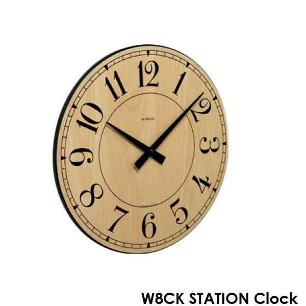 壁掛け時計 【NW8CK STATION ウォールクロック ビーチ 29cm】 IN HOUSE インハウス 【送料無料】