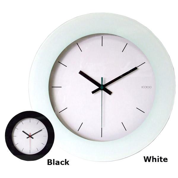 クロック 壁掛け 時計 【シュールガラスクロック 電波時計 V-200 ホワイト/ブラック】 【送料無料】