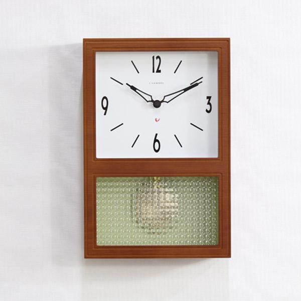 クロック 壁掛け 時計 【GLASS PENDULUM CLOCK ガラス ペンデュラム クロック CH-021CB/CH-021OA】クオーツ時計 ステップセコンド レトロ 日本製