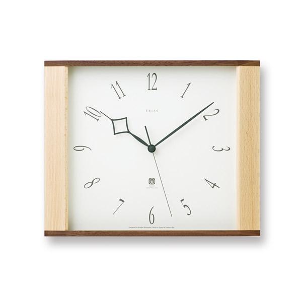 掛け時計 【New Erias ニューイリアス 】 電波時計 スイープセコンド LC10-01W シンプル オシャレ ブナ ウォールナット カワイイ クロック 壁掛け 時計 スクエア