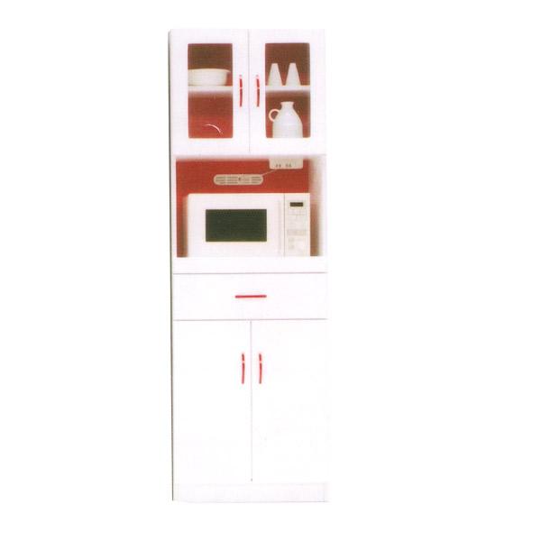 【Sweet・Red スイート・レッド】60キッチンボード 食器棚 レンジボード キッチン収納 ホワイト レッド 台所家具 エナメル鏡面【送料無料】