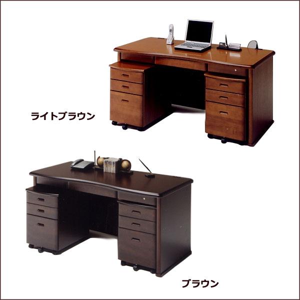 デスク+ワゴン 【レクサス 】机 書斎 ライトブラウン/ブラウン パソコンデスク オフィスデスク