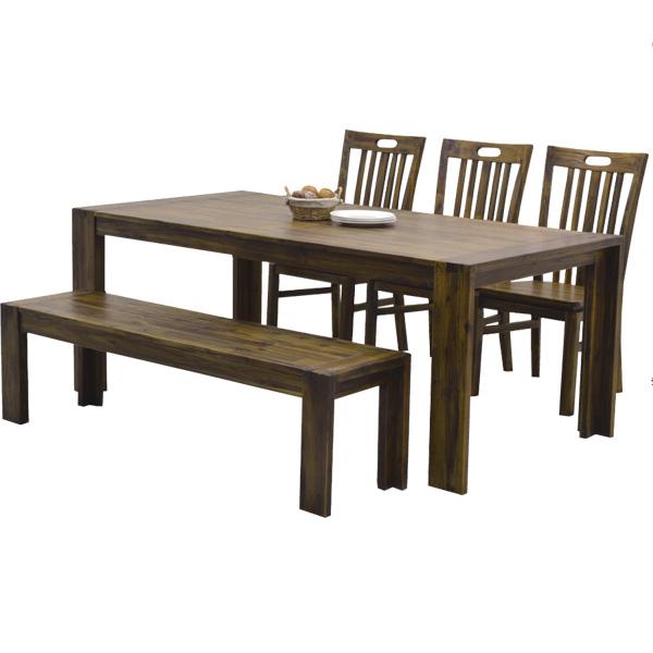 ダイニング5点セット 180-5点セット 【ハドソン】 ダイニングセット テーブル チェアー×3 ベンチ ダイニングテーブルセット