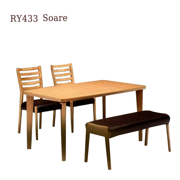 ダイニングセット 【Soare ソアレ2脚 ベンチセット】4人用 4点セット RY433 160テーブル+チェアー×2ベンチ