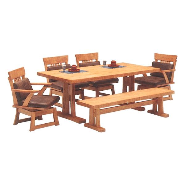 【サンガ】 ダイニング6点セット 1800テーブル + 肘付チェア×2 + 肘無チェア×2 + 1600ベンチ 食卓 180幅 6人掛け 6人用 木製  松田家具