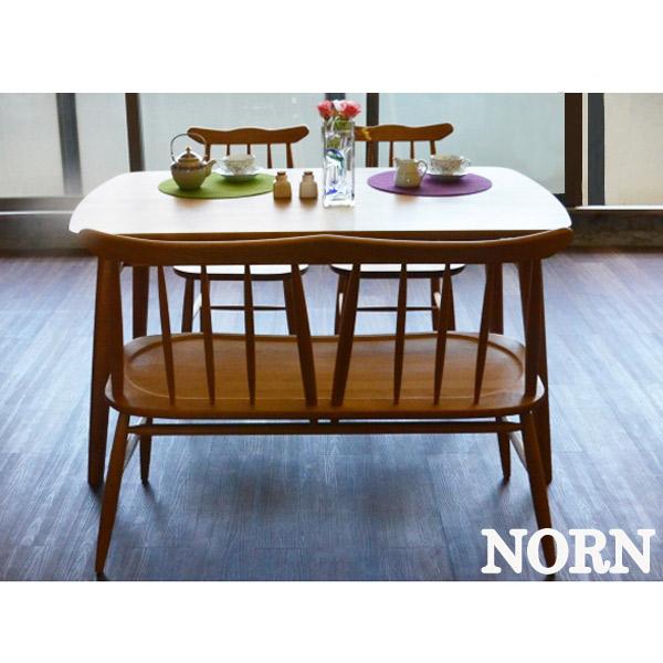 【ノルン】ダイニング4点セット (テーブル+チェア×2+背付きベンチ) 食卓 ダイニング 団欒 アルダー材 シンプル 木製 ナチュラル おしゃれ 天然木