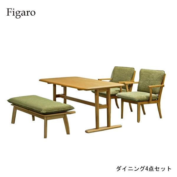 ダイニング4点セット【Figaro フィガロ】ダイニングテーブルセット 食卓セット キッチンセット 150テーブル チェア2脚 ベンチ 木製 北欧 おしゃれ