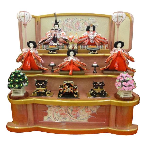 展示現品 雛人形 ひな人形 三段飾り 五人飾り 【455】 【ORLA-52 オリジナル】 衣裳着人形 桃の節句/ひな祭り/お雛様