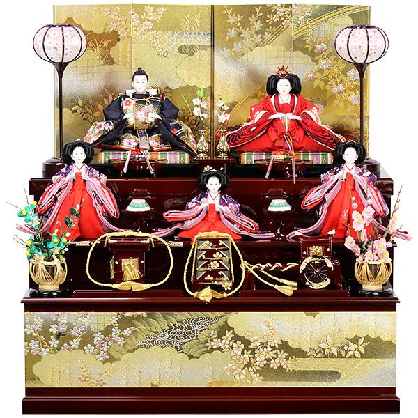 雛人形 ひな人形 雛 雛 コンパクト収納飾り 三段飾り 収納三段飾り 五人飾り 【RO930S61】 衣裳着人形 桃の節句/ひな祭り/お雛様/数量限定