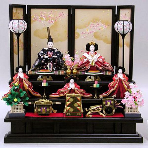 三段飾り 五人飾り 桃の節句/ひな祭り/お雛様 衣裳着人形 数量限定 【488】 雛人形 【41SS1350】 ひな人形