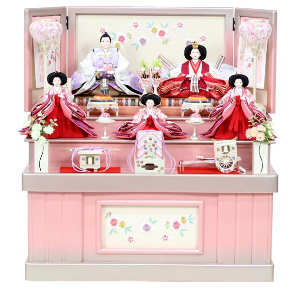 雛人形 コンパクト ひな人形 おしゃれ 雛 衣裳着 収納飾り 三段飾り 3段 五人飾り 衣裳着人形 【8-362-BOB】【102S91】 数量限定 かわいい 可愛い 桃の節句 ひな祭り お雛様 ピンク飾り台 おひなさま