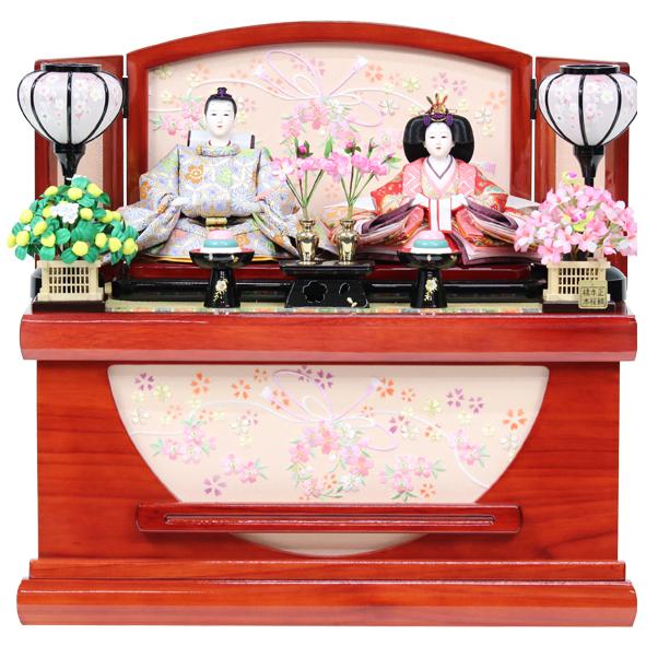雛人形 コンパクト ひな人形 おしゃれ 雛 衣裳着 収納飾り 親王飾り 衣裳着人形 【オリジナル雛人形】【RO020S91】 数量限定 かわいい 可愛い 桃の節句 ひな祭り お雛様 家具調収納台 おひなさま