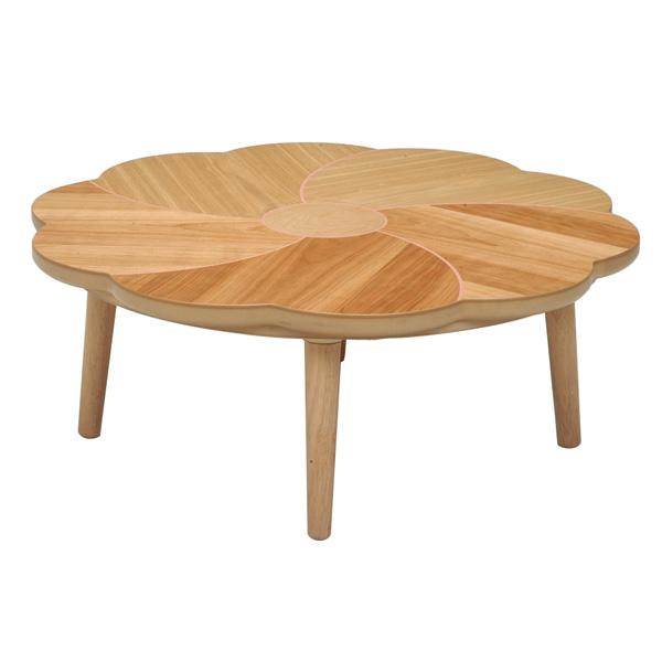 こたつ 変形 花型天板 天然木 こたつテーブル リビングテーブル こたつ本体 おしゃれな (桜花(おうか) 100)