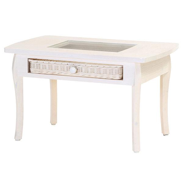 センターテーブル 【fiore T803WW テーブル】 リビングテーブル ガラス天板 引出し 収納 ラタン 籐 ガーリー 完成品
