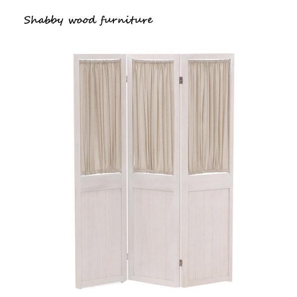 ※メーカー直送の為代引不可 パーテーション MS-5413AW Shally 即納最大半額 当店限定販売 SHABBY WOOD FURNITURE ついたて 衝立 3連 スクリーン 間仕切り