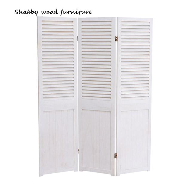 ※メーカー直送の為代引不可 パーテーション MS-5913AW Shally SHABBY WOOD 衝立 3連 間仕切り ついたて 販売 FURNITURE スクリーン 送料0円
