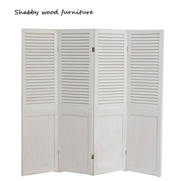 【お得なクーポン配布中★】パーテーション【MS-5914AW】Shally SHABBY WOOD FURNITURE 4連 スクリーン ついたて 間仕切り 衝立