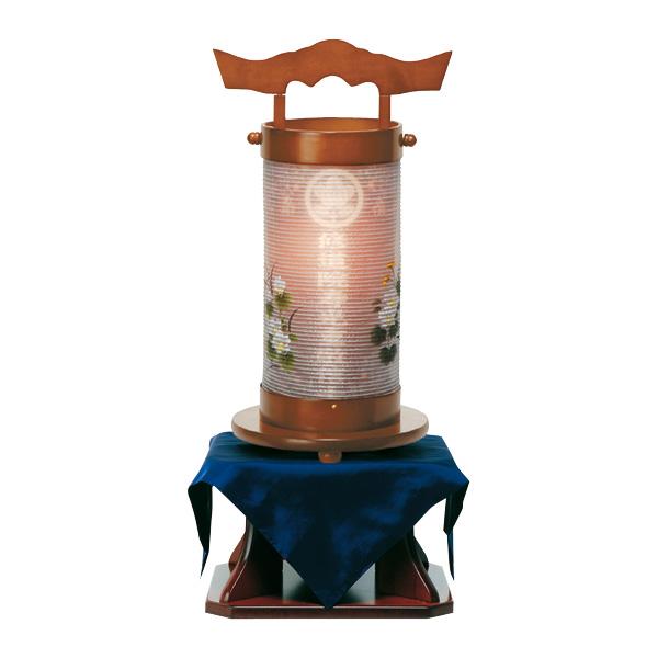 (家紋/戒名入れ込) 盆提灯 陽光燈(紋戒名入、けやき台付) お盆ちょうちん お盆用品 お盆用 電気コード式 新盆提灯 初盆提灯 天然木