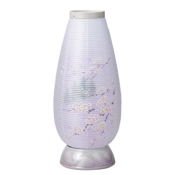 盆提灯 モダン 初盆 インテリア盆提灯 2502 宝珠灯480 7色LED やわらぎ九谷銀彩パープル