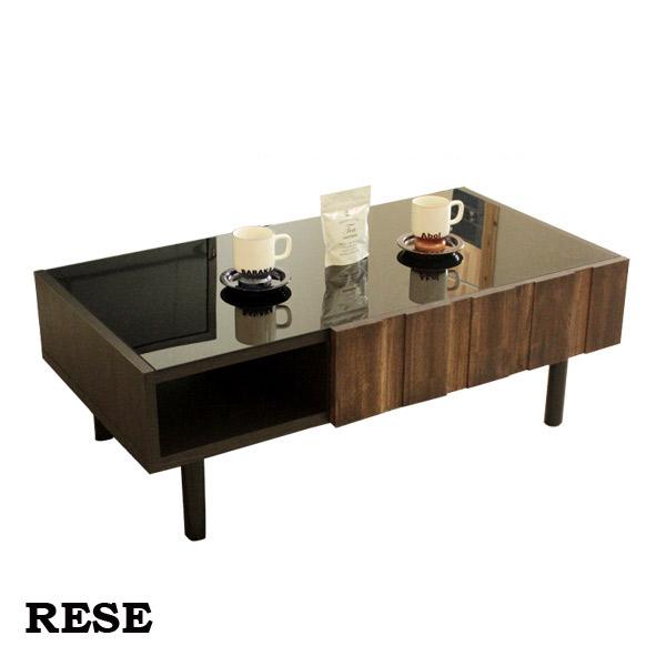 ローテーブル リビングテーブル ガラス天板 モダン おしゃれ 高級感 RESE レセ センターテーブル