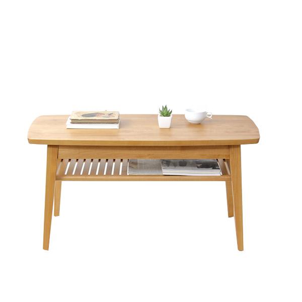 リビングテーブル ローテーブル 【如月(きさらぎ) センターテーブル85】 木製/引出し付き/棚板付き/ナチュラル/角丸/かわいい
