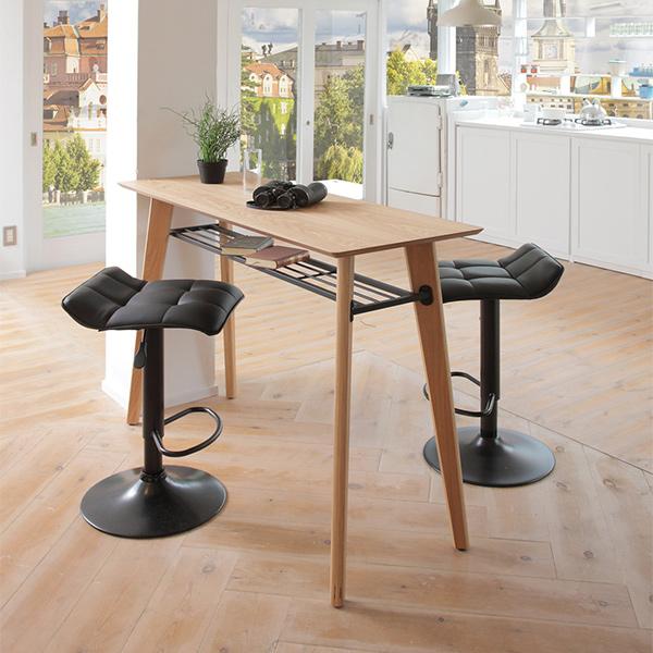 カウンター3点セット アンテカウンターテーブル + シエロカウンターチェア×2 おしゃれ 北欧風 シック 木質 高級感 2人掛け バーカウンター