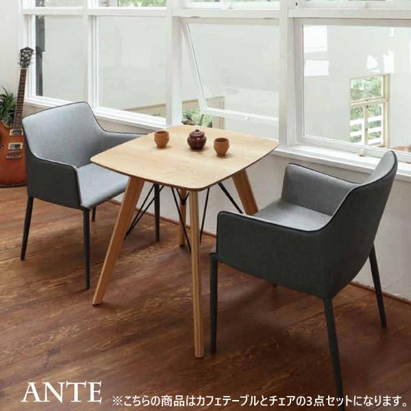 カフェテーブル 3点セット アンテカフェテーブル + セリオアームチェア×2 おしゃれ 北欧風 2人掛け