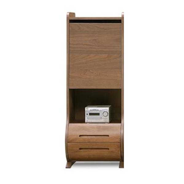 キャビネット 木製 ウォールナット 収納家具 棚 収納棚 モダン リビング (ルラード 50ハイキャビネット ウォールナット)