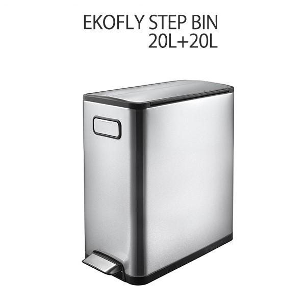 ごみ箱 ダストボックス 20L+20L 【送料無料】 ゴミ箱 ダストボックス おしゃれ ECOFLY STEP BIN シルバー ステンレス 【EK9377MT-20L+20L エコフライ ステップビン 20L+20L】 シンプル 容量20L+20L 角型 フタ付き 蓋 両開き キャスター付き ソフトクローズ 【送料無料】