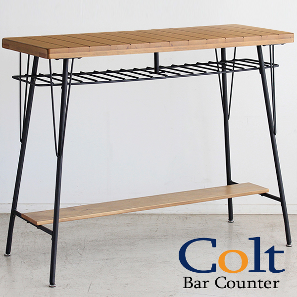 カウンターテーブル 無垢材使用 バーカウンター バーテーブル ヴィンテージ調 木製 スチール脚 おしゃれ 家具 北欧 モダン (COLT コルト バーカウンター)