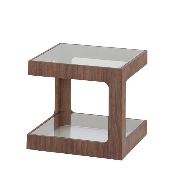 4/1限定カード決済&エントリーで最大P10倍!ガラスサイドテーブル【JST-447】ラウル 天然木 ウォルナット ナイトテーブル ガラスサイドテーブル
