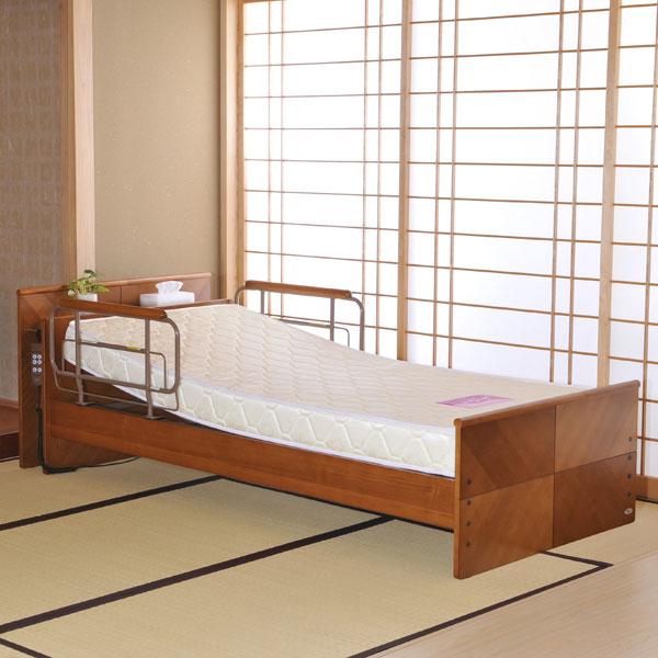 電動ベッド 【 ケアレット P103-11AB1ES 】 背上げ1モーターベッドセット (宮付レギュラー・エルダーサポートマットレス)