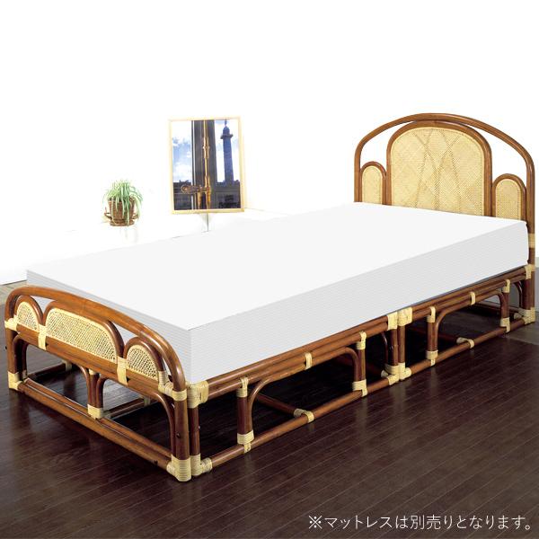 ベッドフレーム 【W-001SA シングルベッド(フレーム)】 フレームのみ シングル 籐 ラタン 軽くて移動がしやすいラタンベッド